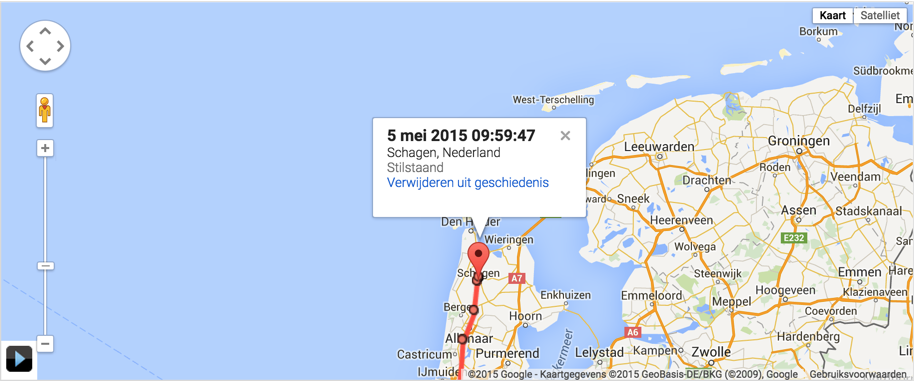 Google Location History for Bevrijdingsdag 2015